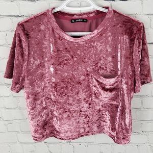 SHEIN | crushed velvet cropped short sleeve blouse